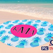 "Personalized Photo Beach Towel - 60"" Round - Single Sided"
