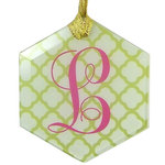 "Custom Glass Ornament - 3.5""X 4"" Hexagon Glass Holiday Ornament"