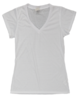 (Small Print) Ladies V-Neck Fashion Fit T-Shirt - Size: S