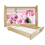 Personalized Serving Tray - Natural Oak Wood with Printed Bottom