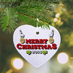 "Personalized Ceramic Ornament Heart - 3"" Double Sided Heart Holiday Ornament"