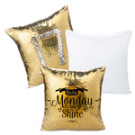 "Custom Sequin Pillow Case Cover - Gold/Silver Sequin 15.75"" x 15.75"" Pillow"