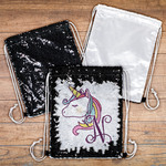 Personalized Sequin Drawstring Backpack - Black/White