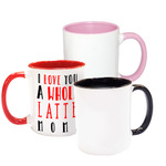 Personalized Photo Mug with Colored Handle and Inside - 11 oz. Red Black Pink