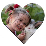 Personalized Heart Shaped Photo Puzzle - 6.7  Hardboard Puzzle 23 pieces