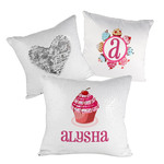 "Custom Sequin Pillow Case Cover - White/Silver Sequin 15.75"" x 15.75"" Pillow"