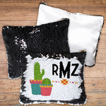 "Custom Flip-Sequin Bag - 8"" x 6.75"" Black/White Sequin Cosmetic Bag"
