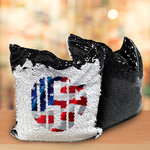 Sequin Double Layer Tote Bag - Black/White