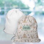 "Custom Drawstring Bag 16"" x 18"" - Sewn Poplin Personalized Tote Bag"