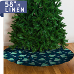 "Personalized Christmas Tree Skirt - 58"" Linen Custom Tree Skirt"