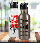 Personalized Water Bottle with Straw Top - White