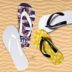 Personalized Flip-Flops for Kids - Youth Large White or Black Base and White, Black Pink Straps