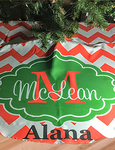 Small Personalized Holiday Tree Skirt - 21 inch Round with 2 inch opening and Velcro Closure