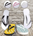 Personalized Flip Flop Sandals - Adult Large White or Black Base and White, Black Pink Straps