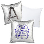 "Custom Sequin Pillow Case Cover - Silver/Black Sequin 15.75"" x 15.75"" Pillow"