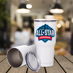 Personalized 30oz Insulated White Steel Travel Mug - White Stainless Steel Insulated Travel Thermos