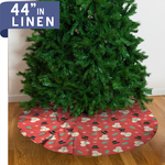 "Personalized Christmas Tree Skirt - 44"" Linen Custom Tree Skirt"