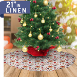 "Personalized Christmas Tree Skirt - 21"" Linen Custom Tree Skirt"