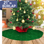 "Personalized Christmas Tree Skirt - 21"" Burlap Custom Tree Skirt"